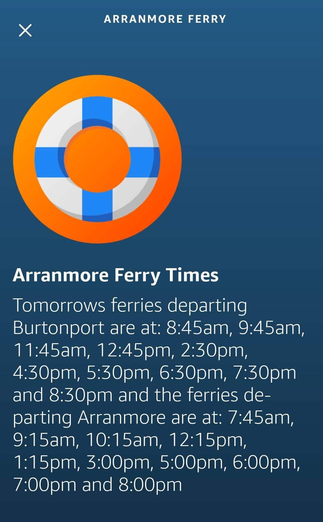 Mobile App with a full response from Arranmore Ferry