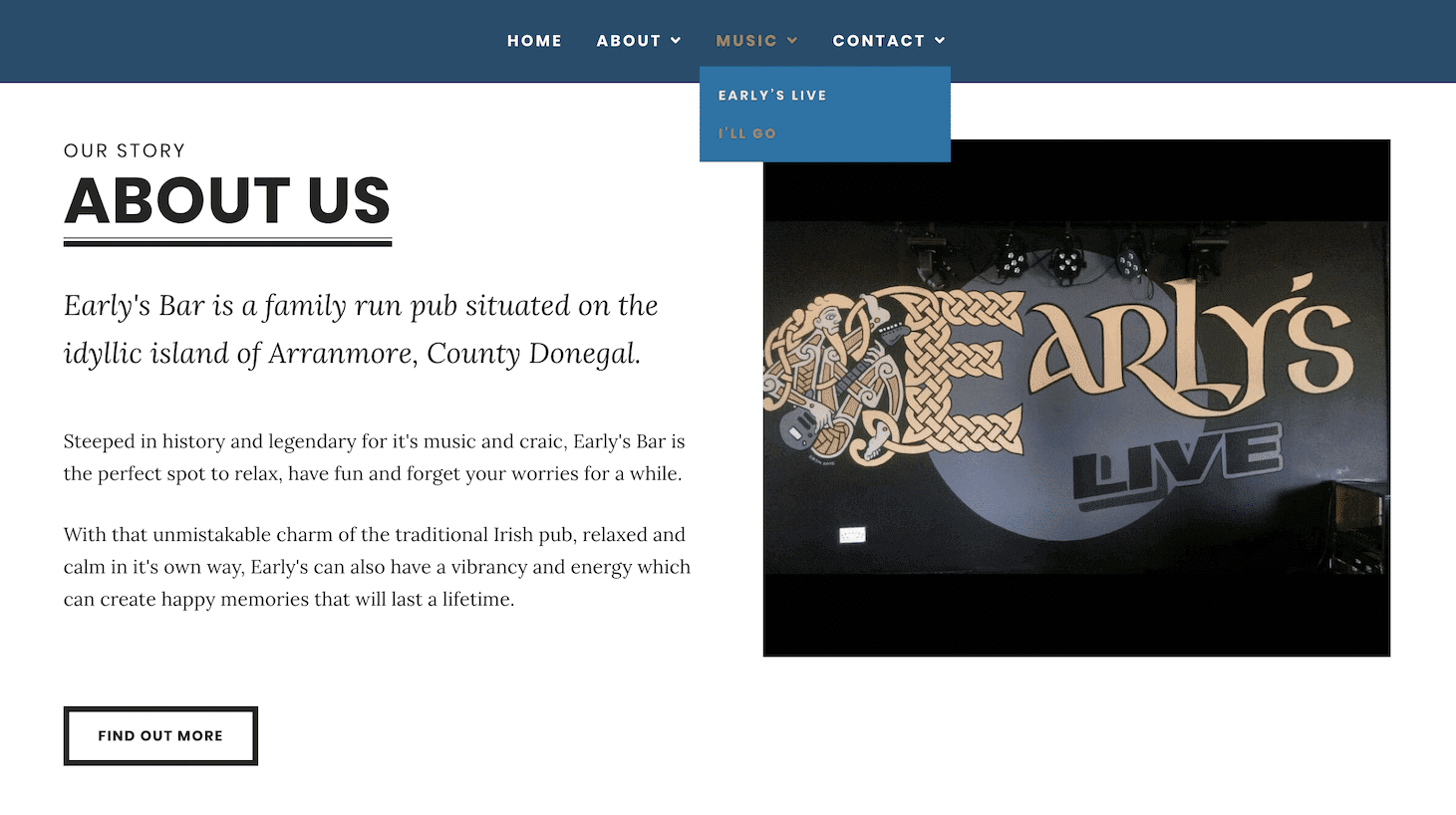 Early's Bar Webpage