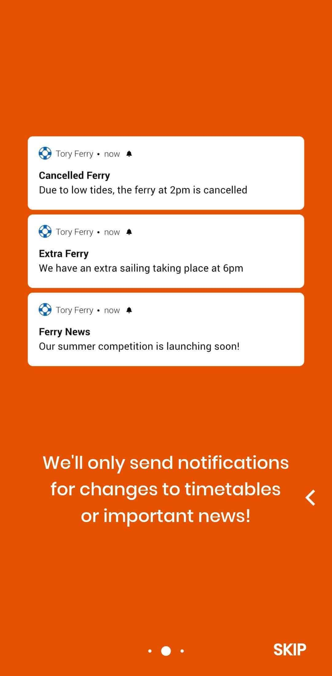 Tory Ferry Notifications